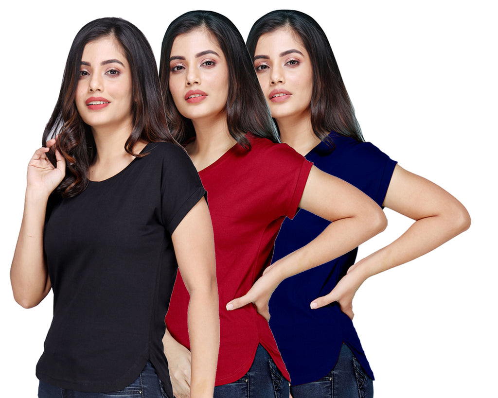 Women's Cotton Kurti Style Long Tshirt Tops Combo (Pack of 3)