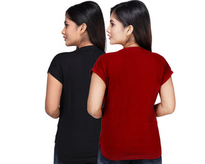 Women's Cotton Kurti Style Long Tshirt Tops Combo- Black and Maroon