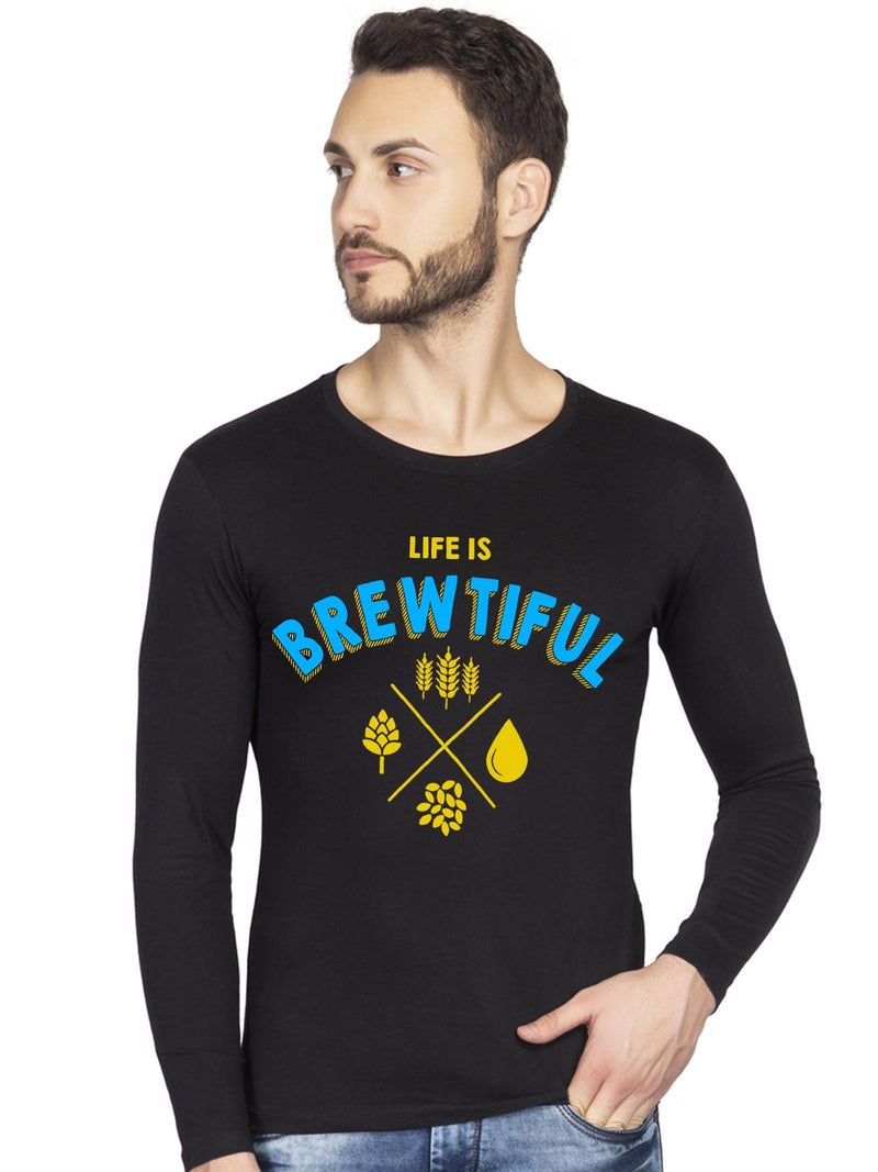 life is brewtiful beer graphics full t shirt for men -bluehaat
