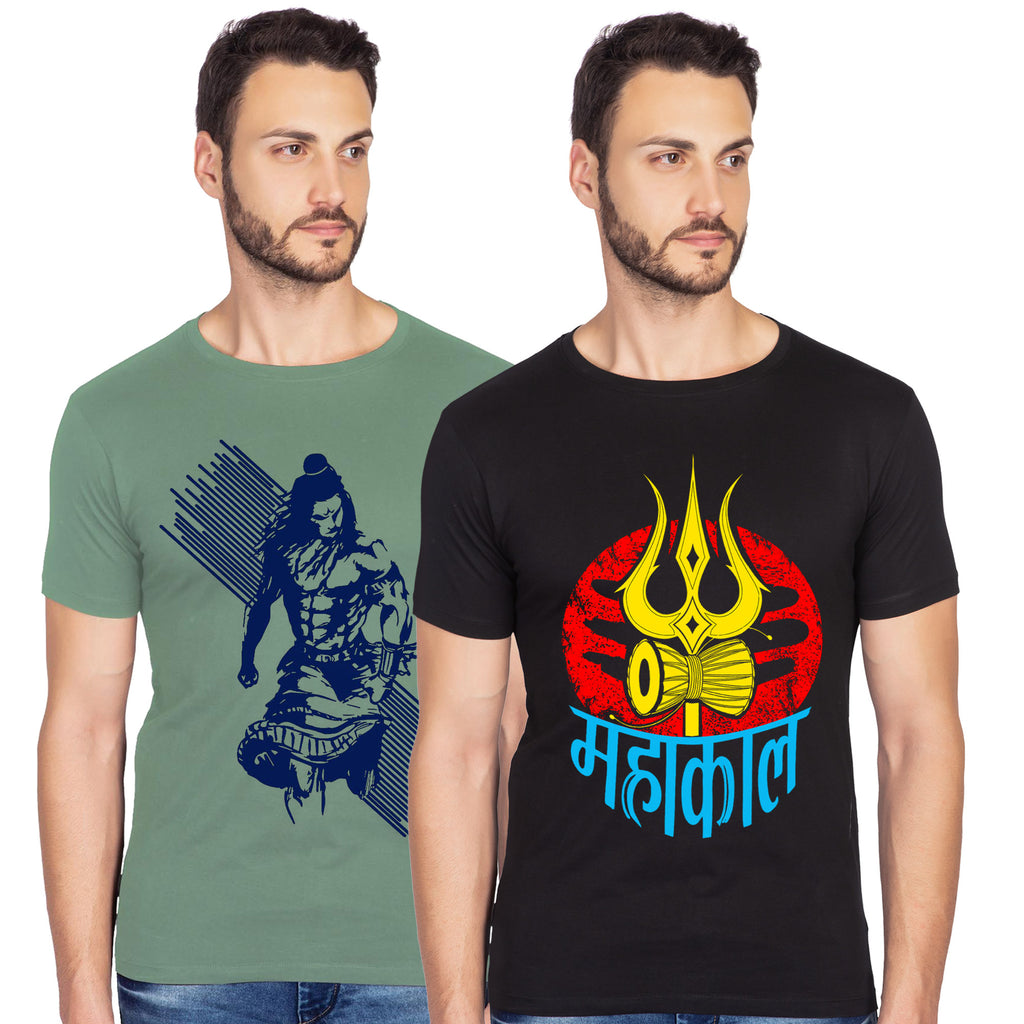 Mahadev And Mahakal Graphics Half Tshirt Combo - bluehaat