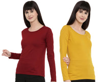 Women's Solid Color Full Tshirt Combo Pack-Maroon and Mustard