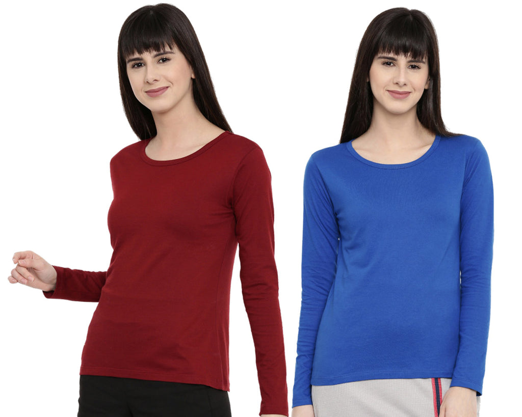 Women's Solid Color Full Tshirt Combo Pack-Maroon and Royal Navy