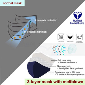 3 layer mask with filtration cotton stylish face protection bluehaat