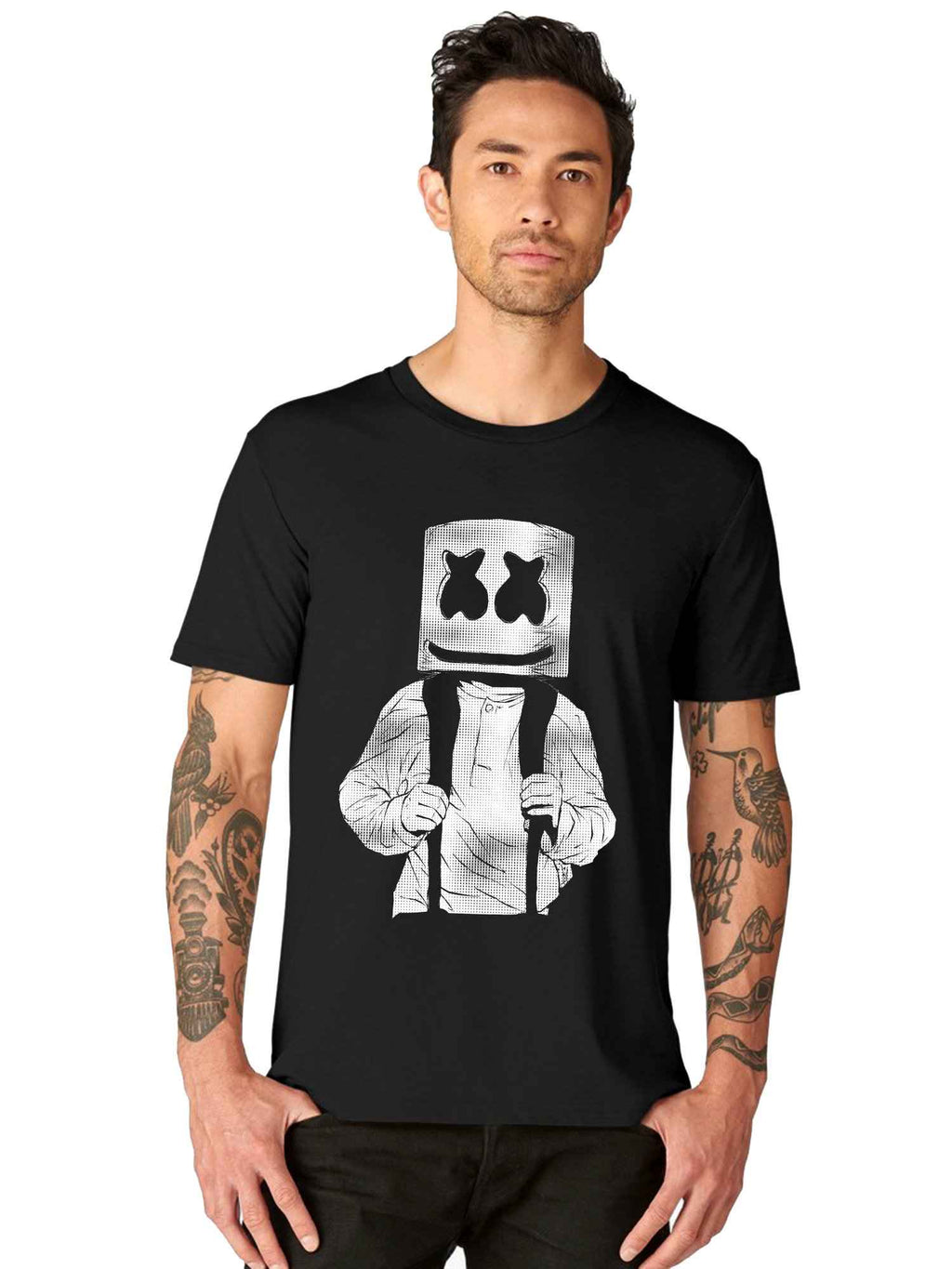 Marshmello Alone Half Tshirt - bluehaat