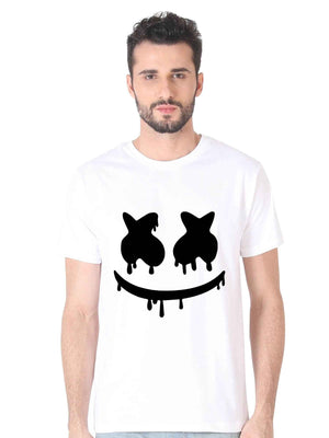 Marshmellow Emoji Graphics Half Tshirt - bluehaat