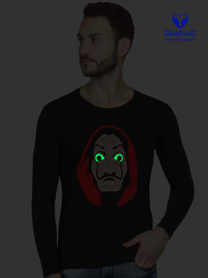 Glow In Dark Bella Ciao - Professor Mask Half T shirt