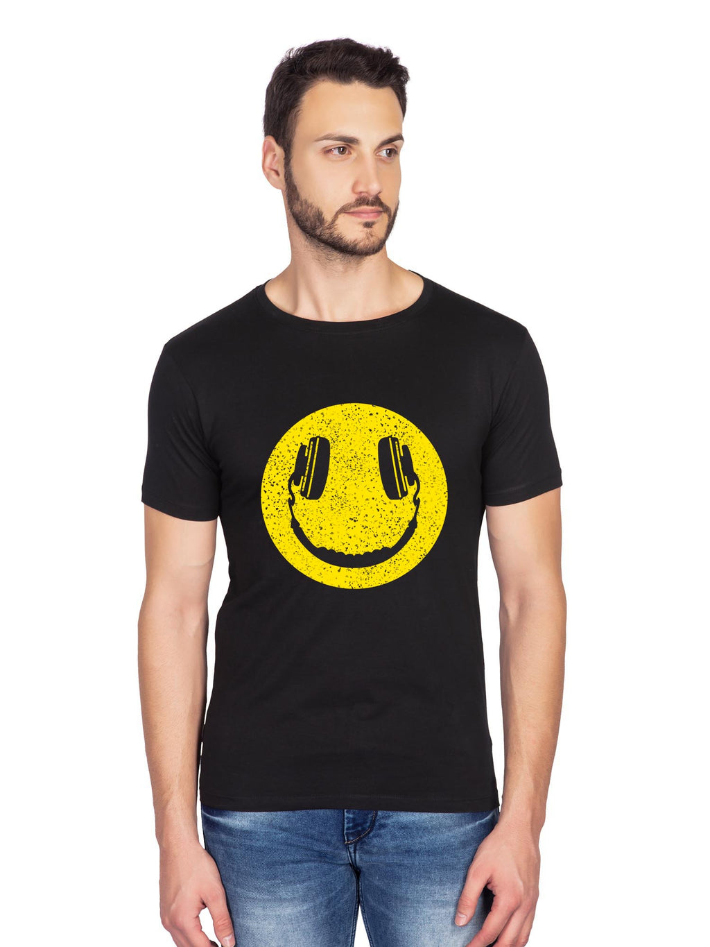 Happy Music Emoji Graphics Half Tshirt - bluehaat