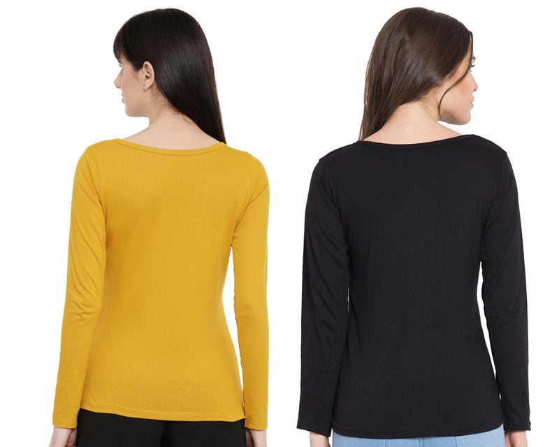 Women's Solid Color Full Tshirt Combo Pack-Mustard and Black