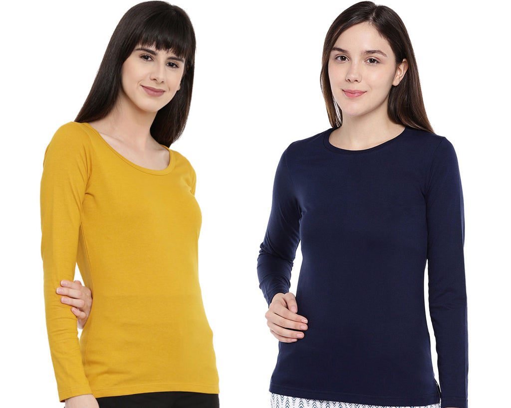 Women's Solid Color Full Tshirt Combo Pack-Mustard and Navy Blue