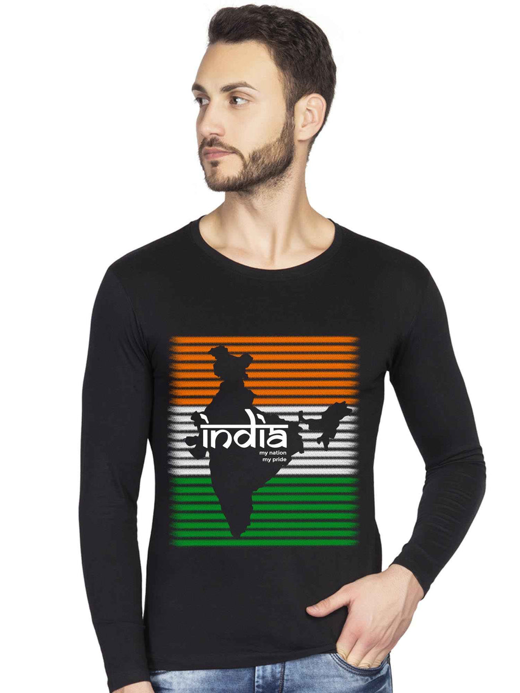 India My Pride Independence Day Graphic Printed Full Tshirt - bluehaat