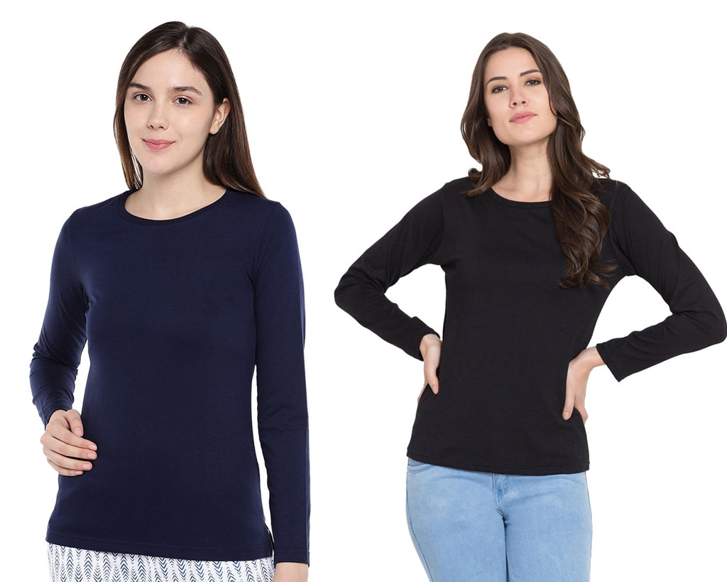 Women's Solid Color Full Tshirt Combo Pack-Black and Navy Blue