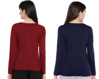 Women's Solid Color Full Tshirt Combo Pack-Maroon and Navy Blue