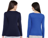 Women's Solid Color Full Tshirt Combo Pack-Royal Blue and Navy Blue