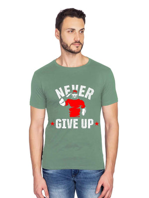 Never Give Up Salute Graphics Half Tshirt - bluehaat
