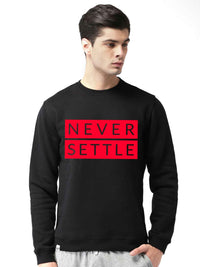 Oneplus Never Settle Graphics Printed Round Neck Sweatshirt - bluehaat