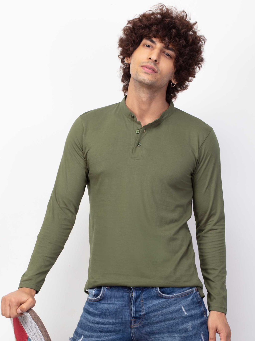 Slim Fit Olive T-shirt Kurta for Men
