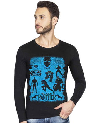 Black Panther Wakanda Forever Graphics Printed Full Tshirt - bluehaat