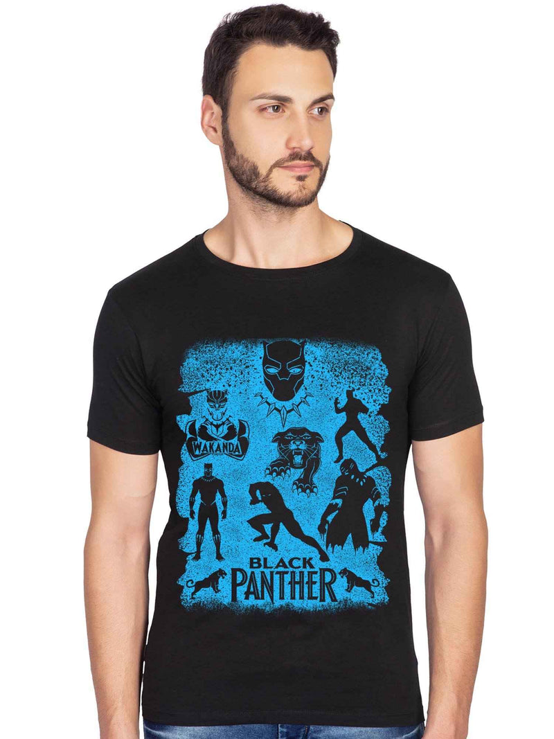 Black Panther Wakanda Forever Graphics Printed Half Tshirt - bluehaat