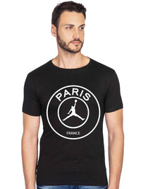 Paris Air Jordan Graphics Printed Half Tshirt - bluehaat
