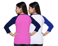 Women's Solid Color Three-Fourth Cotton Tshirt Combo-Pink and White