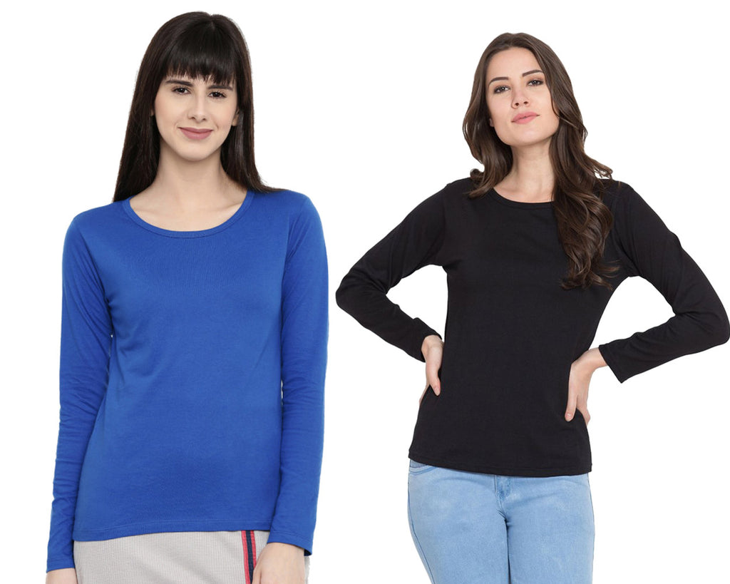 Women's Solid Color Full Tshirt Combo Pack-Royal Blue and Black