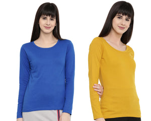 Women's Solid Color Full Tshirt Combo Pack-Royal Blue and Mustard