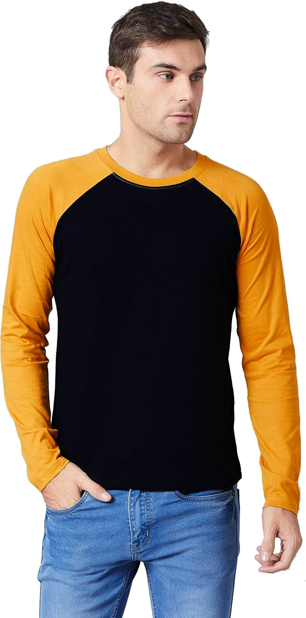 Men's Color Block Style Navy-Mustard Yellow Full Sleeve Tshirt