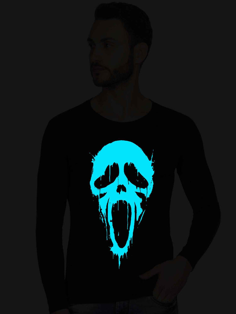 Glow In Dark Scream Face Graphics Printed Tank Top - bluehaat