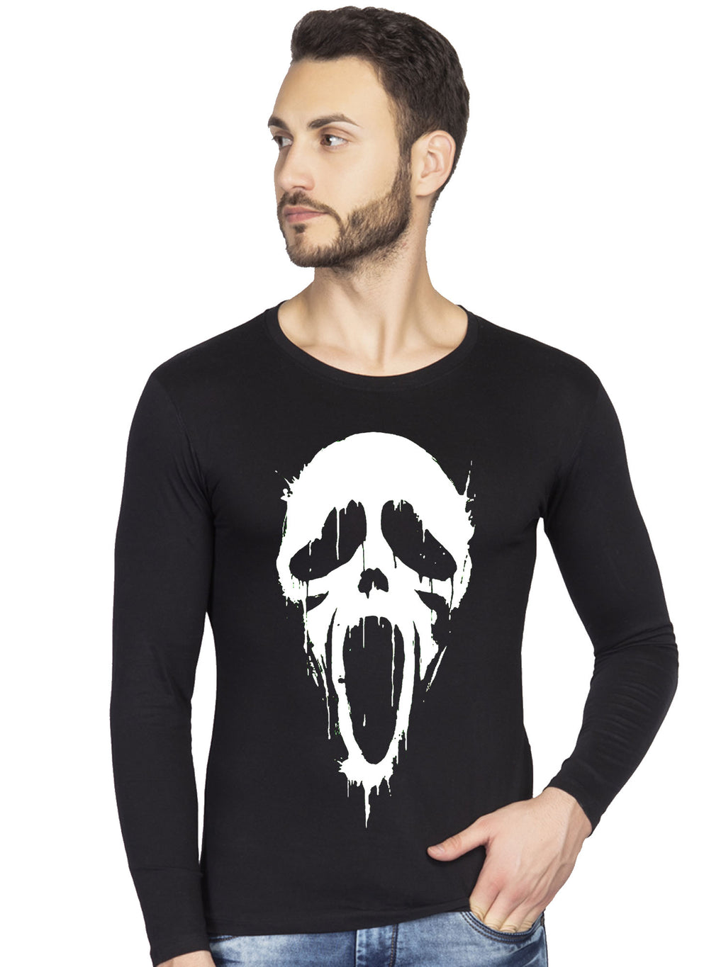 screan scary movie face full t-shirt for men-bluehaat