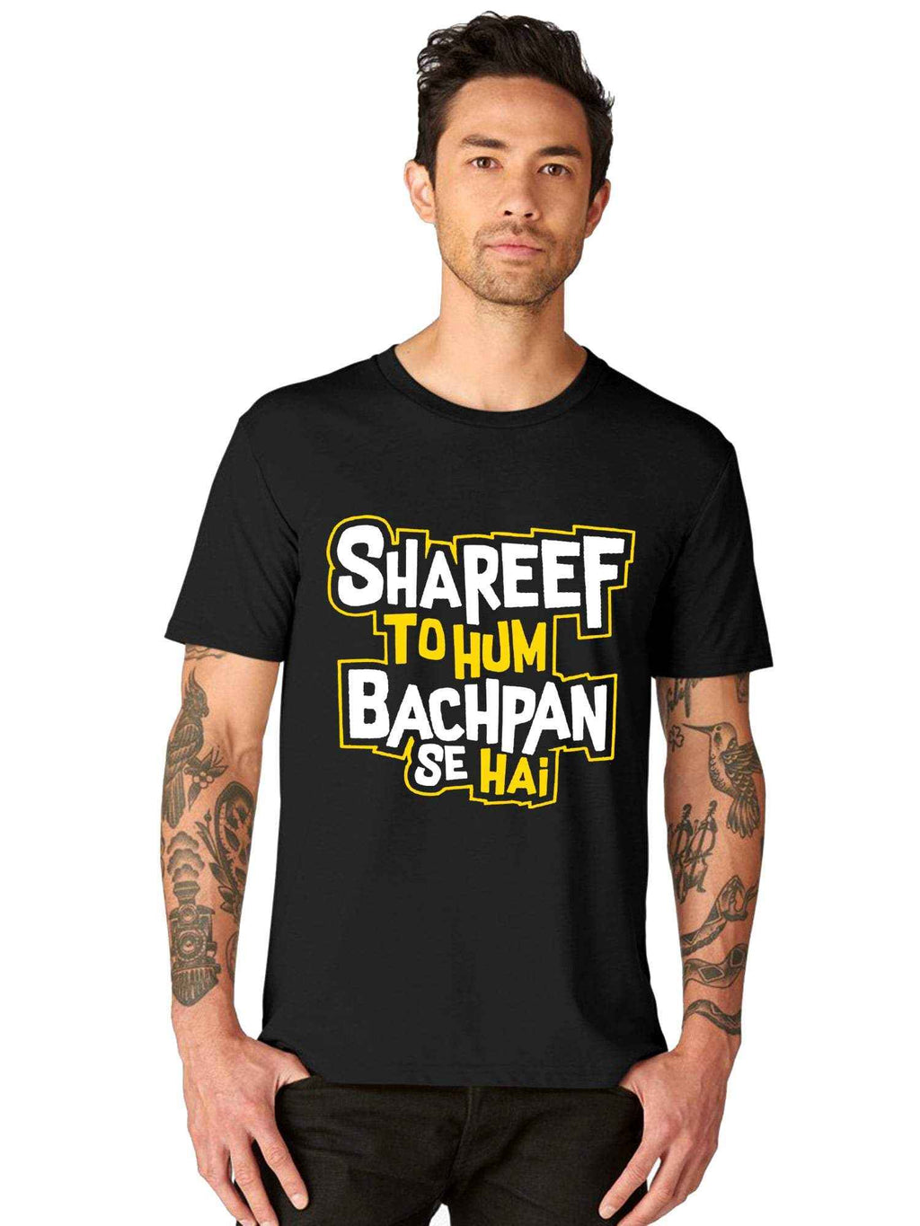 Glow In Dark Mr Shareef Cool Funny Hindi Quote Half Tshirt - bluehaat