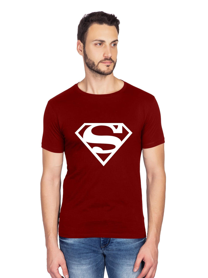 glow in dark superman maroon half t shirt-bluehaat
