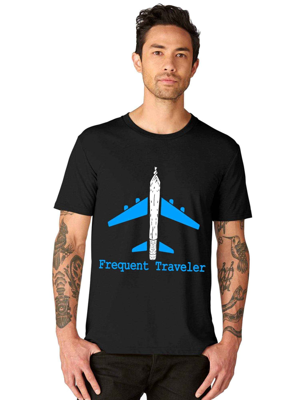 Glow In Dark Wanderlust Flight Airplane Traveler Half Tshirt - bluehaat
