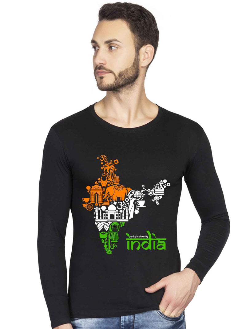Unity In Diversity Indian Flag Graphics India map full t shirt - bluehaat