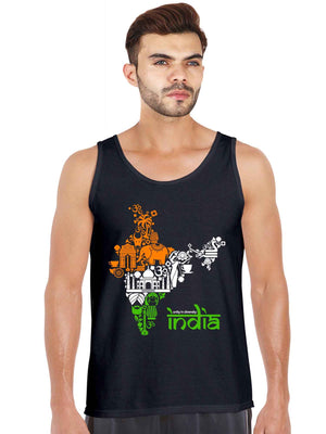 Unity In Diversity Indian Flag Graphics India map Tank Top - bluehaat