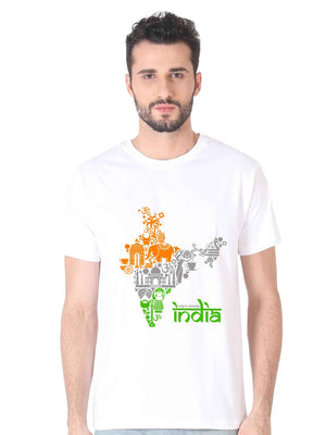 Unity In Diversity Indian Flag Graphics India map t shirt - bluehaat