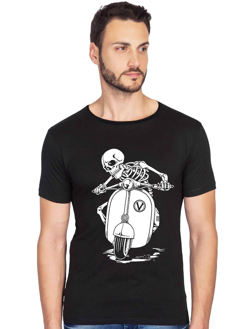 Vespa Skull Graphics Printed Raw Edge Neck Half Tshirt - bluehaat