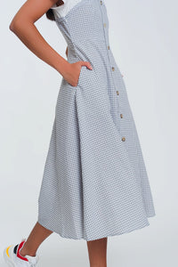 Button Through Midi Dress in Cream Check
