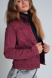 Maroon Reversible Denim Jacket With Leopard Print
