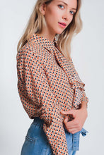 Load image into Gallery viewer, Long Sleeve Blouse With Ruffle Detail in Beige