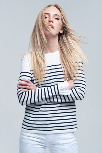 Navy Striped White Shirt