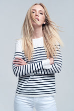 Load image into Gallery viewer, Navy Striped White Shirt