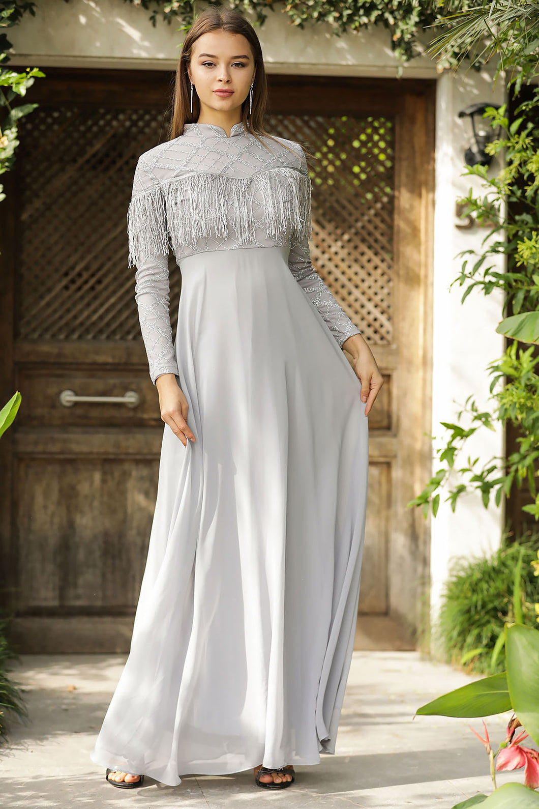 Women's Glitter Grey Long Evening Dress