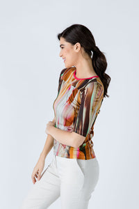 Fitted Print Top in Stretch Jersey