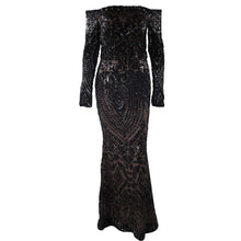 Load image into Gallery viewer, Black Sequin Evening Gown