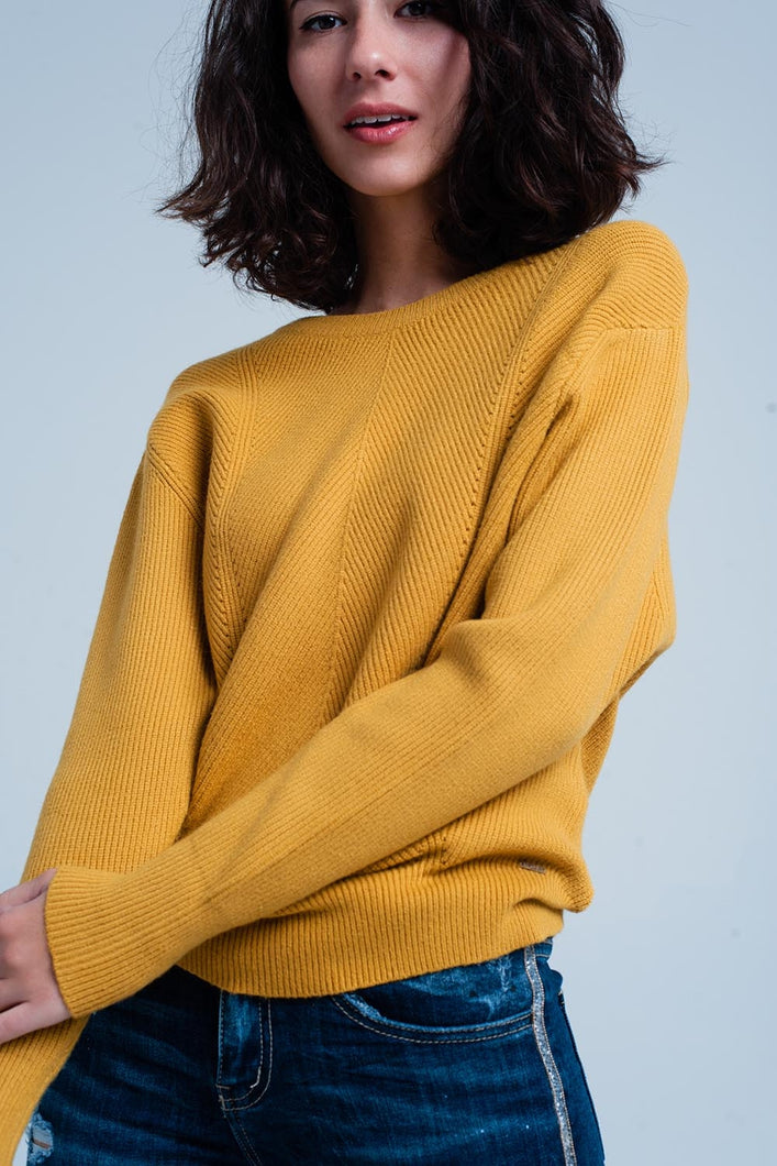 Mustard Textured Sweater With Round Neck