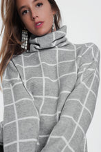 Load image into Gallery viewer, Checkered Grey Turtleneck Sweater