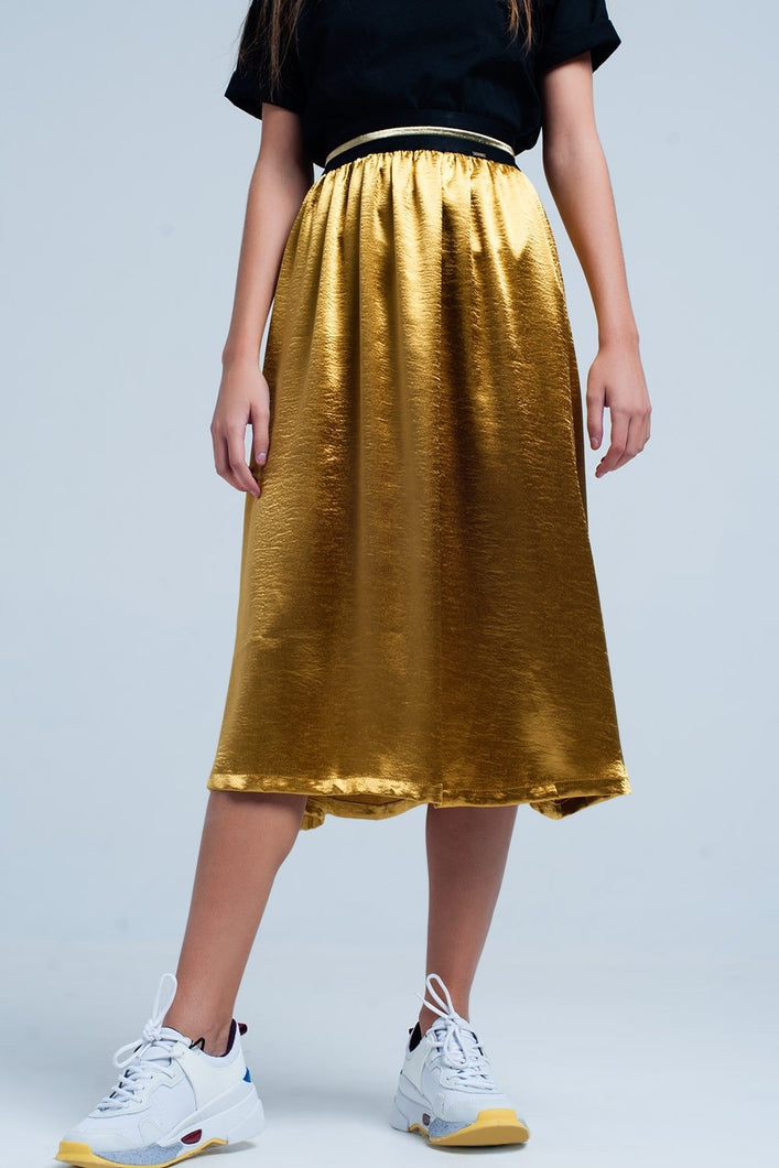 Golden Satin Midi Skirt With Stretch Waist
