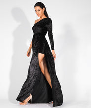 Load image into Gallery viewer, One Shoulder Velvet Dress