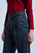 Load image into Gallery viewer, Dark Grey Pants in Pique Fabric With Belt