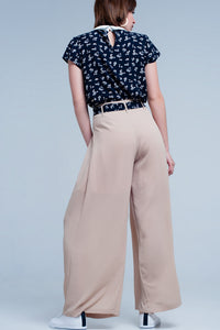 Beige Pants With Black Floral Belt